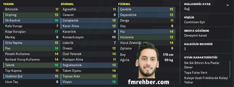 fm 2020 en iyi türk oyuncular hakan çalhanoğlu